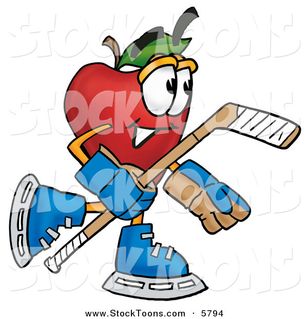 Stock Cartoon of an Athletic Nutritious Red Apple Character Mascot Playing Ice Hockey