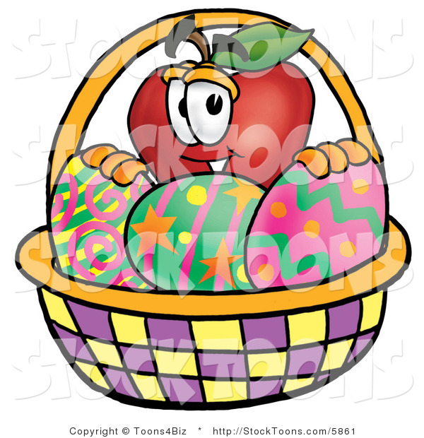 Stock Cartoon of an Easter Red Apple