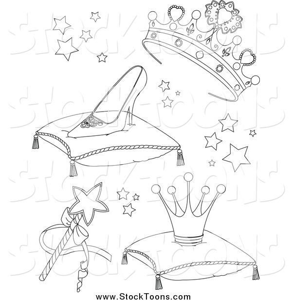 Stock Cartoon of Black and White Princess Accessories