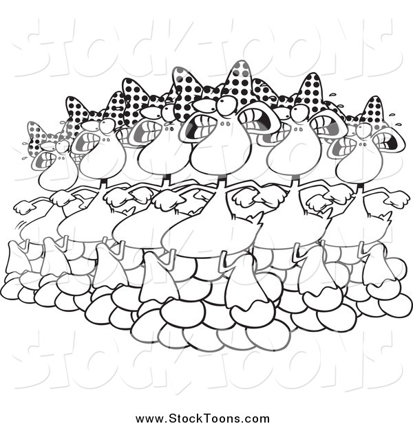 Stock Cartoon of Black and White Six Geese a Laying