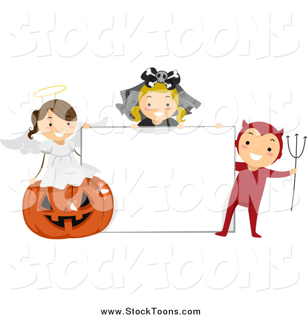 Stock Cartoon of Halloween Kids with a Blank Sign