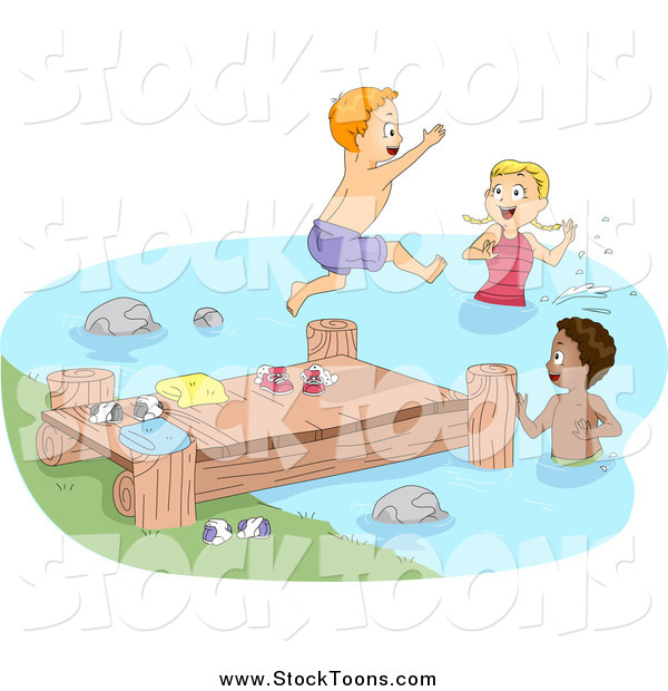 Stock Cartoon of Happy Children at a Dock and Swimming