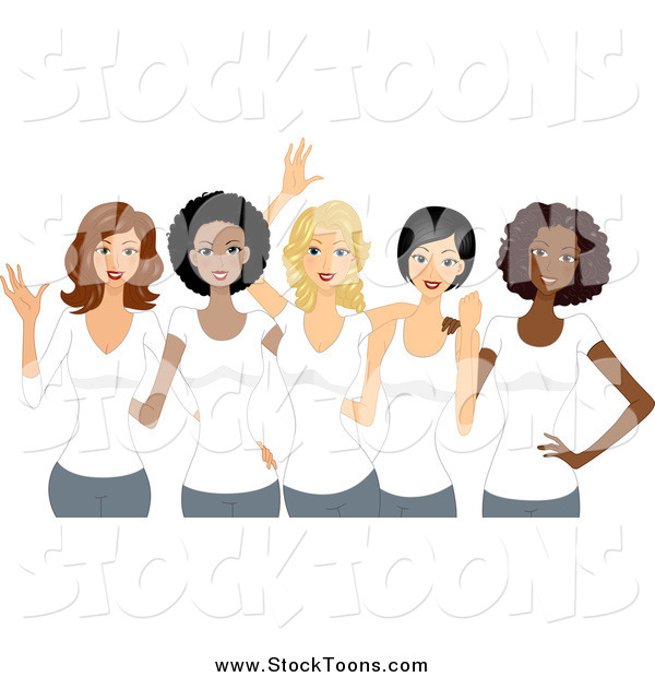 Stock Cartoon of Happy Diverse Girl Friends Wearing White Shirts on International Womens Day