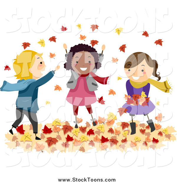 Stock Cartoon of Happy Diverse Stick Kids Playing in Autumn Leaves