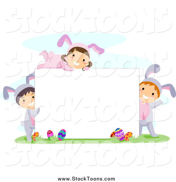 Stock Cartoon of Happy Easter Kids in Bunny Costumes, Around a Blank Sign