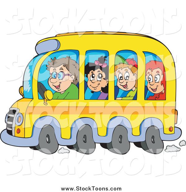 Stock Cartoon of Happy School Children and Driver on a Bus