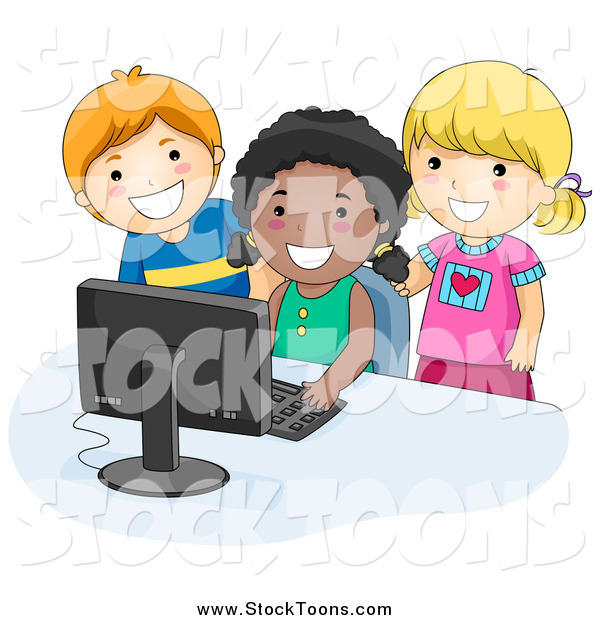 Stock Cartoon of Happy School Kids Using a Computer