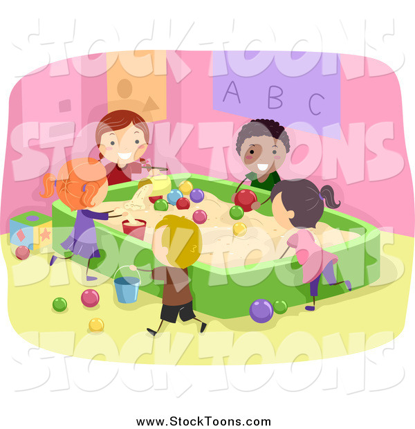 Stock Cartoon of Happy Stick Students Playing in a Sand Box