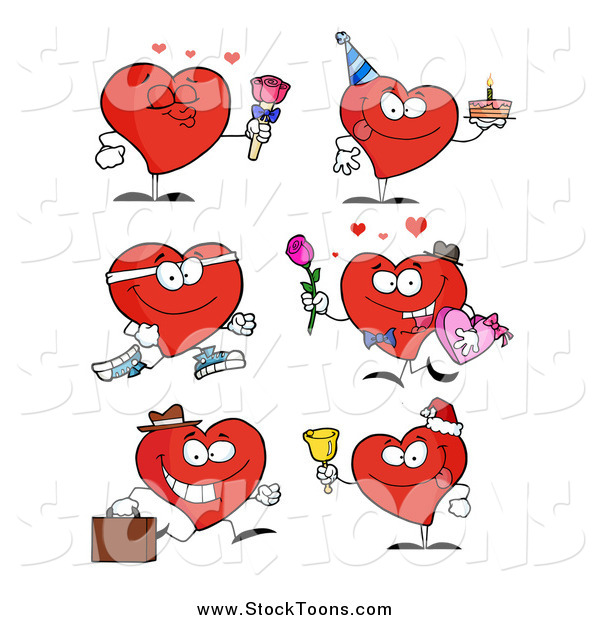 Stock Cartoon of Hearts in Different Poses