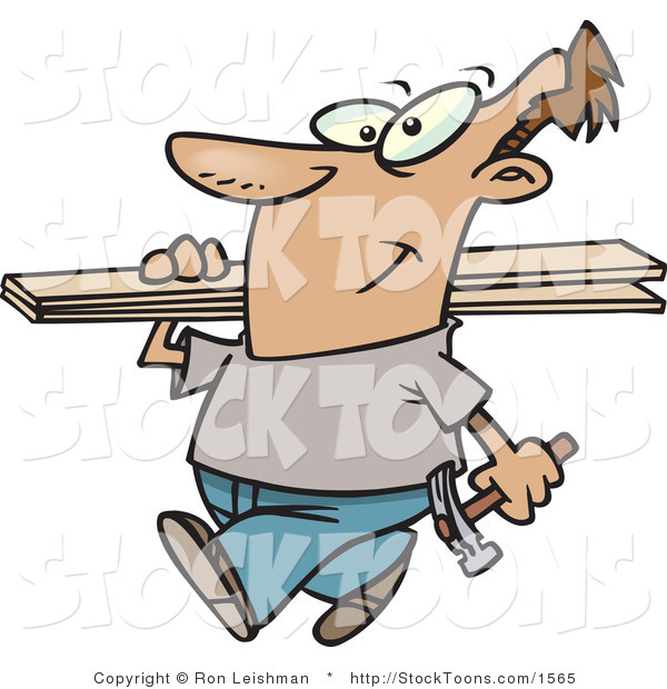 Stock Cartoon of Man Carrying a Hammer and Fence Boards