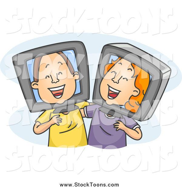 Stock Cartoon of Old Internet Friends Laughing Together