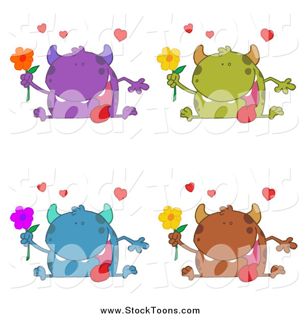 Stock Cartoon of Romantic Monsters with Flowers