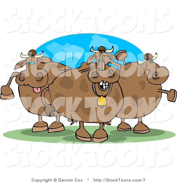 Stock Cartoon of Three Funny Cows in Pasture