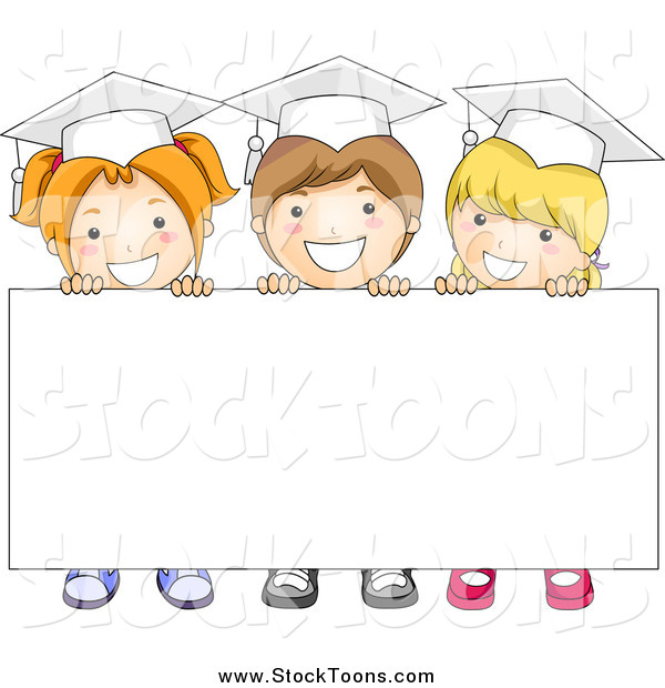 Stock Cartoon of Three Graduate School Kids Holding up a Blank Sign