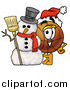 Stock Cartoon of a Basketball Character with a Christmas Snowman by Toons4Biz