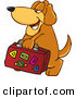 Stock Cartoon of a Brown Pet Dog Mascot Cartoon Character Carrying Luggage by Toons4Biz