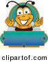 Stock Cartoon of a Bumblebee Mascot Cartoon Character on a Blank Blue and Green Label by Toons4Biz