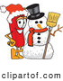 Stock Cartoon of a Cheerful Chili Pepper Mascot Cartoon Character with a Snowman on Christmas by Toons4Biz