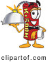 Stock Cartoon of a Cheerful Dynamite Mascot Cartoon Character Holding a Serving Platter by Toons4Biz