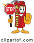 Stock Cartoon of a Cheerful Dynamite Mascot Cartoon Character Holding a Stop Sign by Toons4Biz