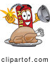Stock Cartoon of a Cheerful Dynamite Mascot Cartoon Character with a Thanksgiving Turkey on a Platter by Toons4Biz