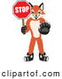 Stock Cartoon of a Cheerful Fox Mascot Cartoon Character Holding a Stop Sign by Toons4Biz