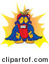 Stock Cartoon of a Chili Pepper Mascot Cartoon Character Dressed As a Super Hero, with Blue Mask and Cape by Toons4Biz