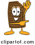 Stock Cartoon of a Chocolate Candy Bar Character Waving and Pointing by Toons4Biz