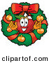 Stock Cartoon of a Cute and Festive Nutritious Red Apple Character Mascot in the Center of a Christmas Wreath by Toons4Biz