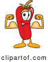 Stock Cartoon of a Cute Chili Pepper Mascot Cartoon Character Flexing His Arm Muscles by Toons4Biz