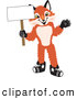 Stock Cartoon of a Cute Fox Mascot Cartoon Character Holding a Blank White Sign by Toons4Biz
