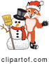 Stock Cartoon of a Cute Fox Mascot Cartoon Character with a Snowman on Christmas by Toons4Biz