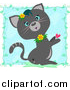 Stock Cartoon of a Cute Gray Cat with Flowers and a Heart over Blue with Vines by Bpearth