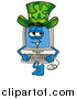 Stock Cartoon of a Desktop Computer Character Wearing a Saint Patricks Day Hat with a Clover on It by Toons4Biz