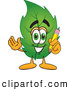 Stock Cartoon of a Eco Friendly Leaf Mascot Cartoon Character Holding a Pencil by Toons4Biz