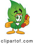Stock Cartoon of a Eco Friendly Leaf Mascot Cartoon Character Holding a Telephone by Toons4Biz
