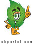 Stock Cartoon of a Eco Friendly Leaf Mascot Cartoon Character Pointing Upwards by Toons4Biz