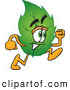 Stock Cartoon of a Eco Friendly Leaf Mascot Cartoon Character Running by Toons4Biz