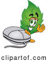 Stock Cartoon of a Eco Friendly Leaf Mascot Cartoon Character Standing by a Computer Mouse by Toons4Biz