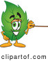 Stock Cartoon of a Eco Friendly Leaf Mascot Cartoon Character Using a Pointer Stick by Toons4Biz