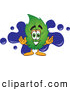 Stock Cartoon of a Eco Friendly Leaf Mascot Cartoon Character with a Blue Paint Splatter by Toons4Biz