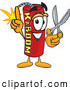 Stock Cartoon of a Explosive Dynamite Mascot Cartoon Character Holding Scissors by Toons4Biz