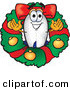 Stock Cartoon of a Festive Grinning Blimp Mascot Cartoon Character in the Center of a Christmas Wreath by Toons4Biz