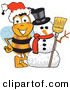 Stock Cartoon of a Festive Honey Bee Mascot Cartoon Character with a Snowman on Christmas by Toons4Biz