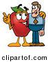 Stock Cartoon of a Friendly and Helpful Red Apple Character Mascot Talking Nutrition with a Business ManFriendly and Helpful Red Apple Character Mascot Talking Nutrition with a Business Man by Toons4Biz