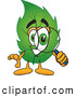 Stock Cartoon of a Friendly Leaf Mascot Cartoon Character Looking Through a Magnifying Glass by Toons4Biz
