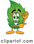 Stock Cartoon of a Friendly Leaf Mascot Cartoon Character Waving and Pointing by Toons4Biz