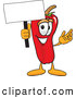 Stock Cartoon of a Grinning Chili Pepper Mascot Cartoon Character Holding a Blank White Sign by Toons4Biz