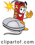 Stock Cartoon of a Grinning Dynamite Mascot Cartoon Character with a Computer Mouse by Toons4Biz
