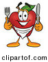 Stock Cartoon of a Grinning Hungry Red Apple Character Mascot Wearing a Napkin, Holding a Fork and Knife by Toons4Biz